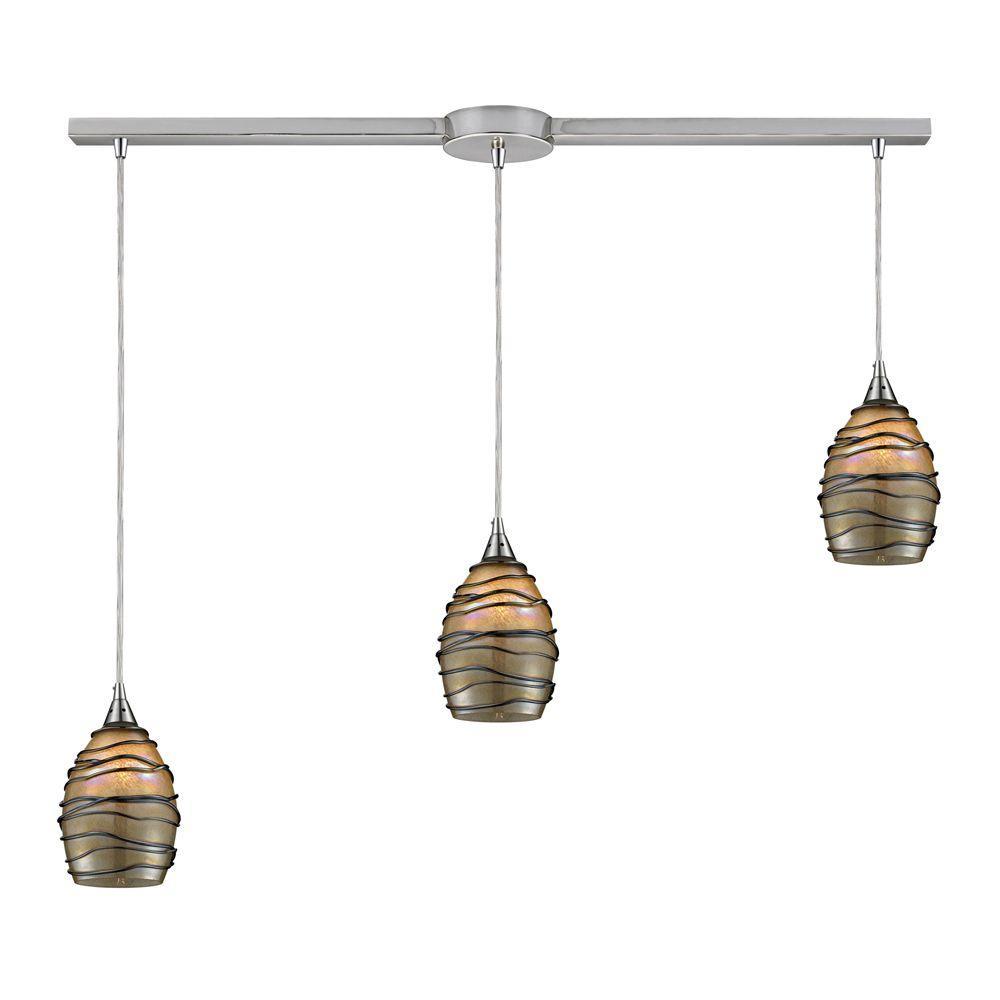 Titan Lighting Vines 3-Light Satin Nickel Ceiling Mount Pendant