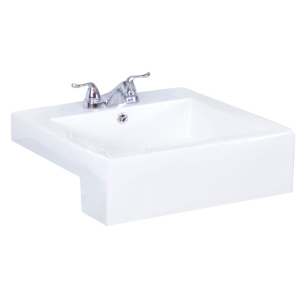 American Imaginations 20-in. W x 20-in. D Semi-Recessed Rectangle Vessel Sink In White Color For 4-in. o.c. Faucet