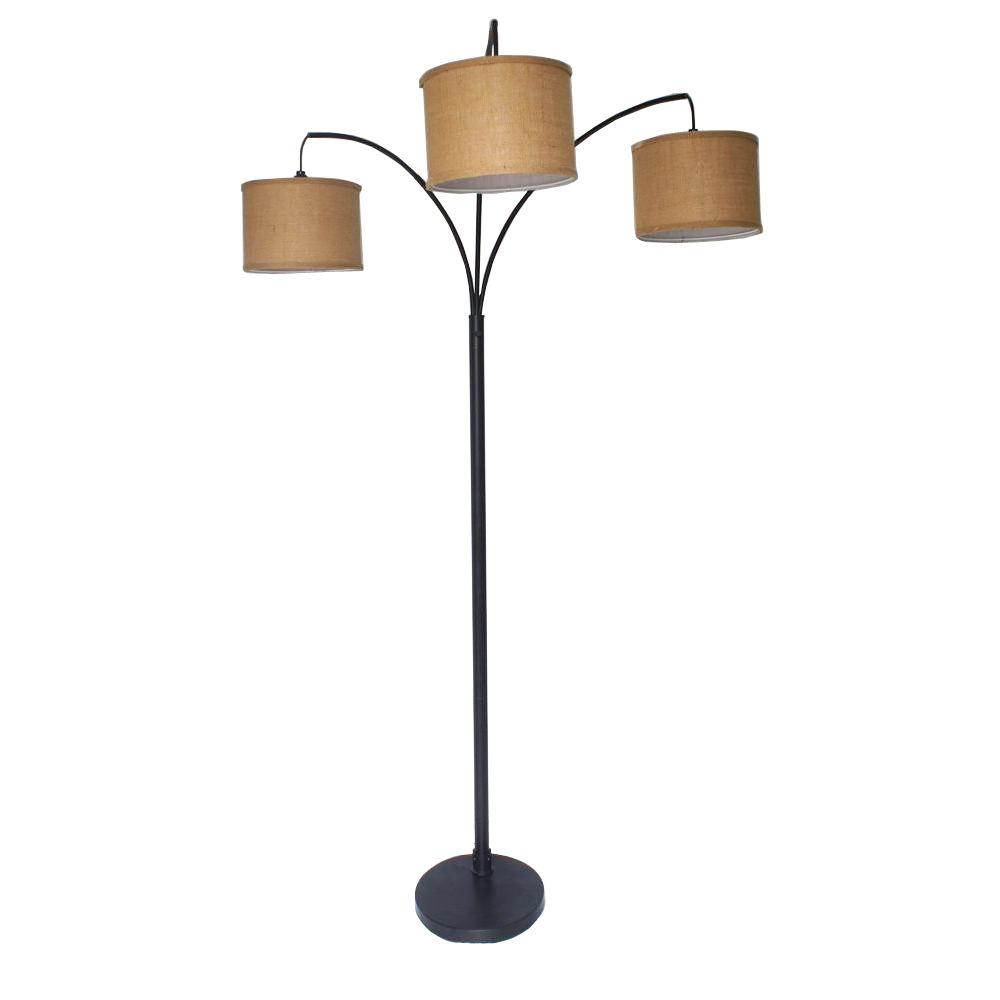Adesso 80 in antique bronze 3 arc floor lamp with cfl for 4 bulb antique floor lamp