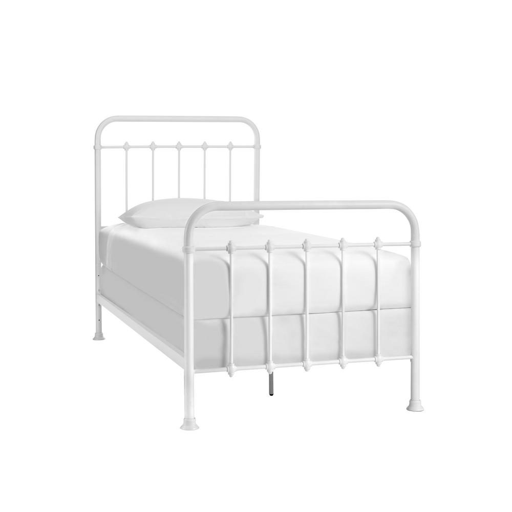 White Metal Twin Standard Bed