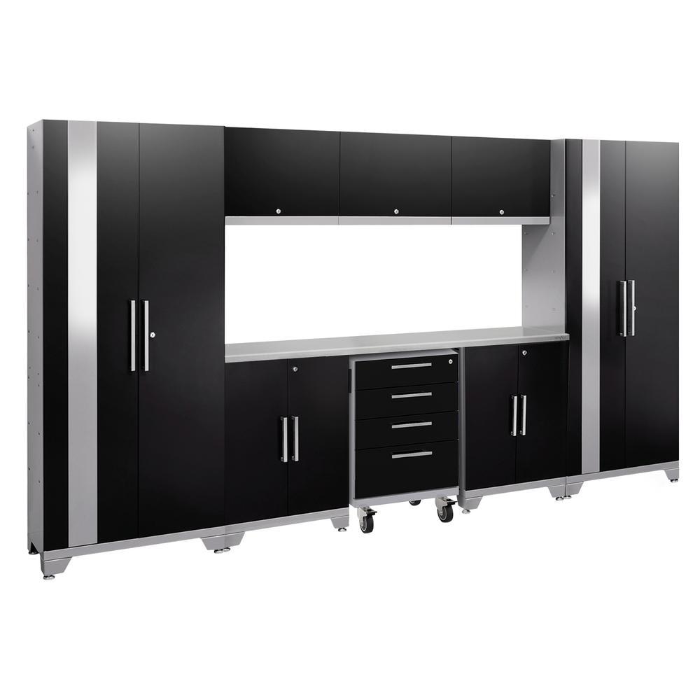 Performance 2.0 77.25 in. H x 132 in. W x 18 in. D 24-Gauge Welded Steel Garage Cabinet Set in Black (9-Piece)
