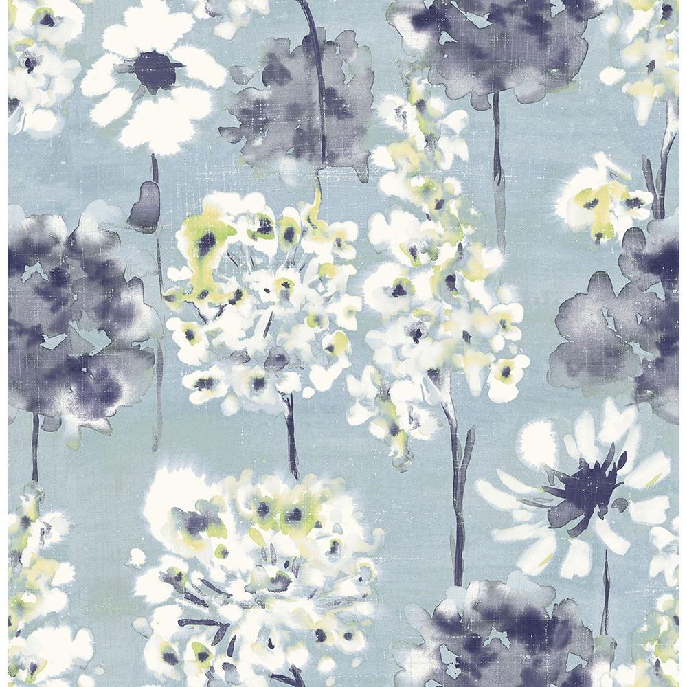 Marilla Blueberry Watercolor Floral Wallpaper