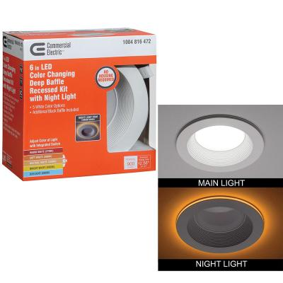 6 in. Canless Selectable Integrated LED Recessed Trim with Night Light Downlight 900 Lumens Dimmable