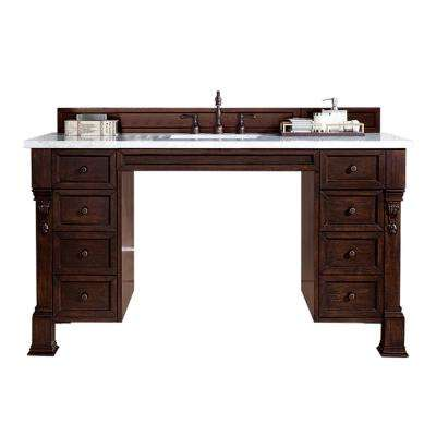 Brookfield ADA 60 in. W Single Vanity in Burnished Mahogany with Soild Surface Vanity Top in Arctic with White Basin