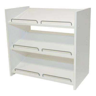 Stackable 24 in. H x 25 in. W Classic White Shoe Storage