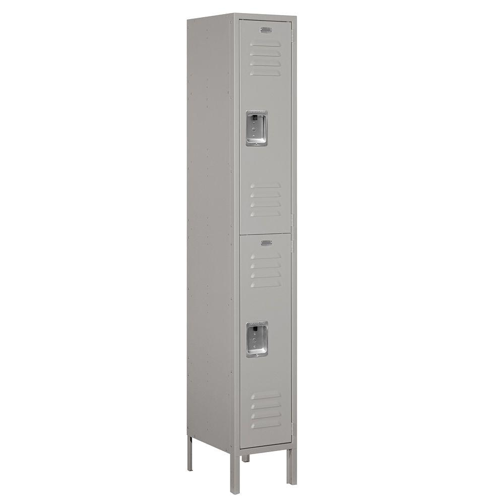 Salsbury Industries 62000 Series 12 in. W x 78 in. H x 15 in. D 2-Tier Metal Locker Unassembled in Gray