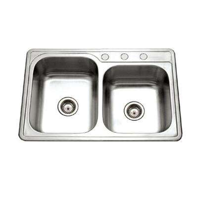 Glowtone Series Drop-In Stainless Steel 33 in. 3-Hole Double Bowl Kitchen Sink