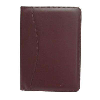 Genuine Leather Compact Writing Portfolio Organizer, Burgundy