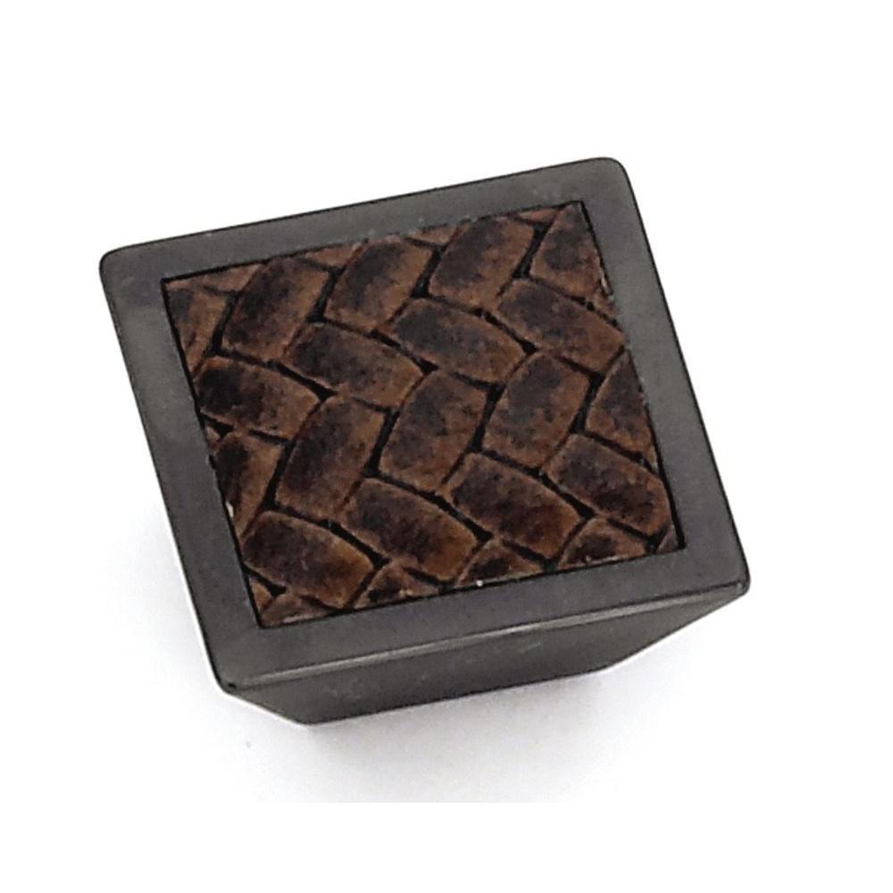 1-5/8 in. Bronze/Black Square Cabinet Knob