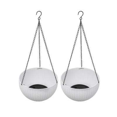 11 in. Dia. Rattan Basket Style Resin Hanging Planters in White with Liner, Plug and Hanging Chains (2-Piece)