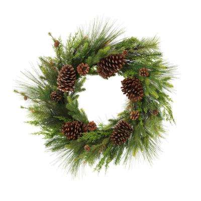 26 in. D Pine and Assorted Pine Cone Wreath