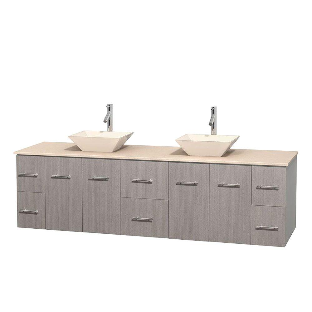 Wyndham Collection Centra 80 in. Double Vanity in Gray Oak with Marble Vanity Top in Ivory and Bone Porcelain Sinks