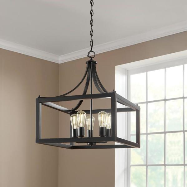 Home Decorators Collection Boswell Quarter 5 Light Distressed Black Pendant 7949hdcdbdi The Home Depot