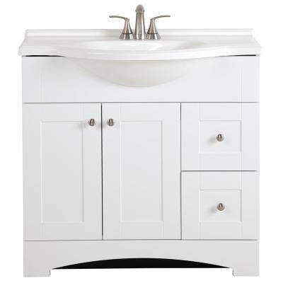 Del Mar 37 in. W x 19 in. D Bath Vanity in White with Vanity Top in White and MOEN Faucet