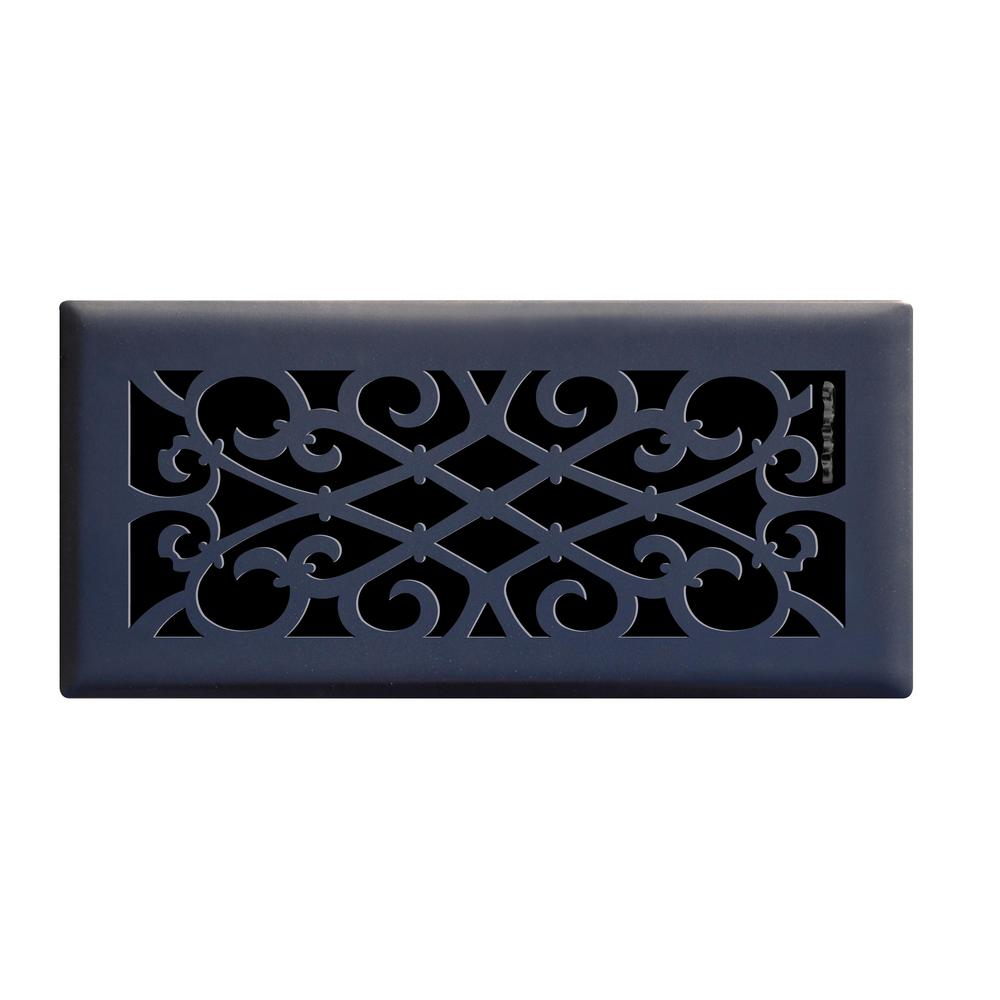 4 in. x 10 in. Elegant Scroll Floor Register in Matte