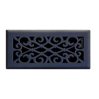 4 in. x 10 in. Elegant Scroll Floor Register in Matte Black