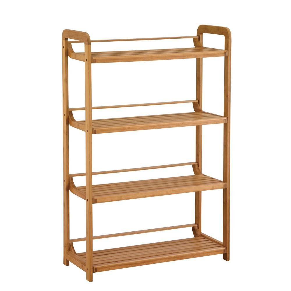 27.75 in. W x 41.13 in. H x 12 in. D 4-Tier Bamboo Bathroom Shelf