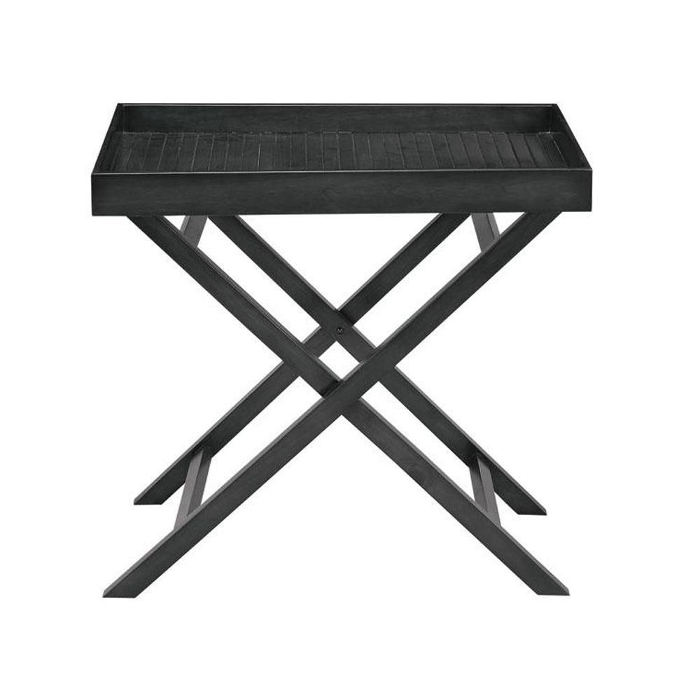 Home Decorators Collection 28 in. W Haydon Black Tray Table