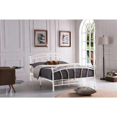 White Full-Size Metal Panel Bed with Headboard and Footboard