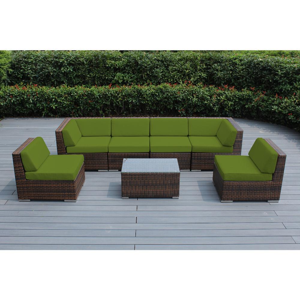 Ohana Depot Mixed Brown 7-Piece Wicker Patio Seating Set with Sunbrella Macaw Cushions