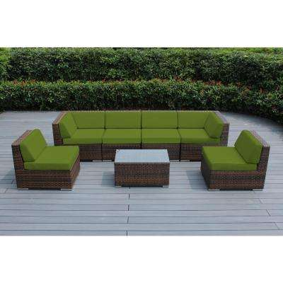 Mixed Brown 7-Piece Wicker Patio Seating Set with Sunbrella Macaw Cushions