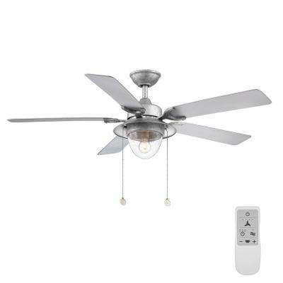 Hanahan 52 in. Galvanized LED Ceiling Fan with Light Kit-works with Google Assistant and Alexa