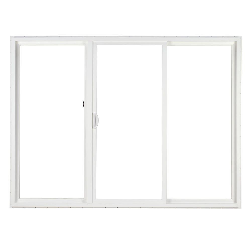 Simonton 120 in x 80 in 3 panel contemporary vinyl for Three panel sliding glass door