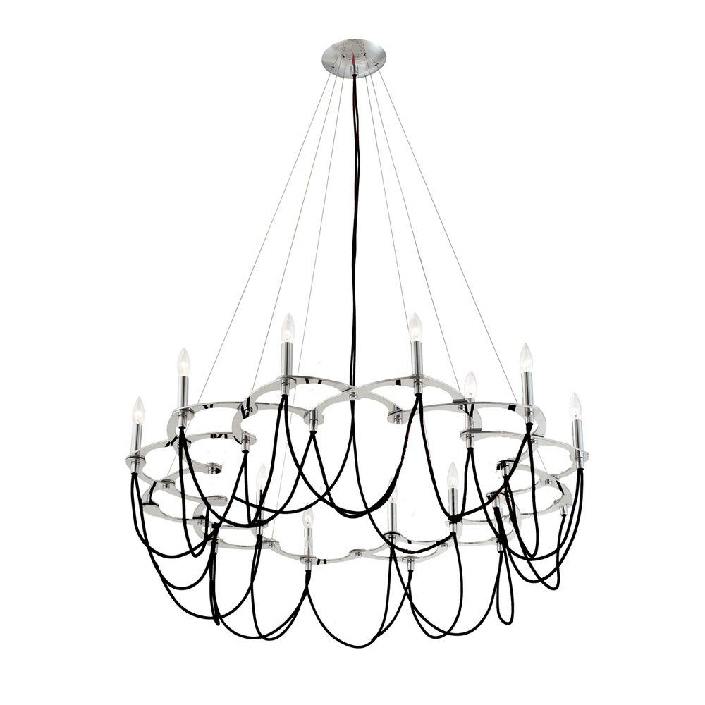 Eurofase Triumph Collection 12-Light Chrome and Black Chandelier-DISCONTINUED
