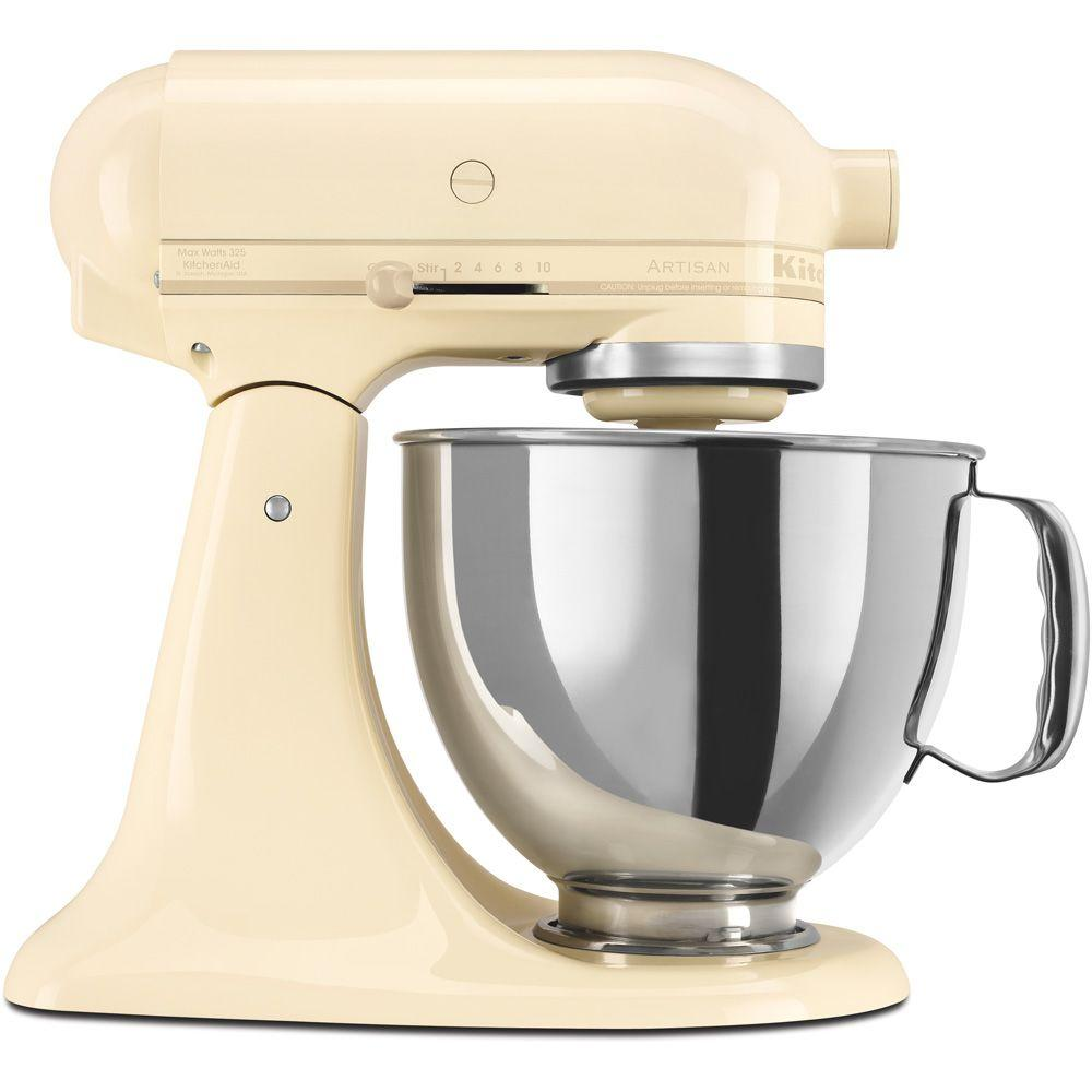 kitchenaid artisan 5 qt almond cream stand mixer ksm150psac the home depot. Black Bedroom Furniture Sets. Home Design Ideas