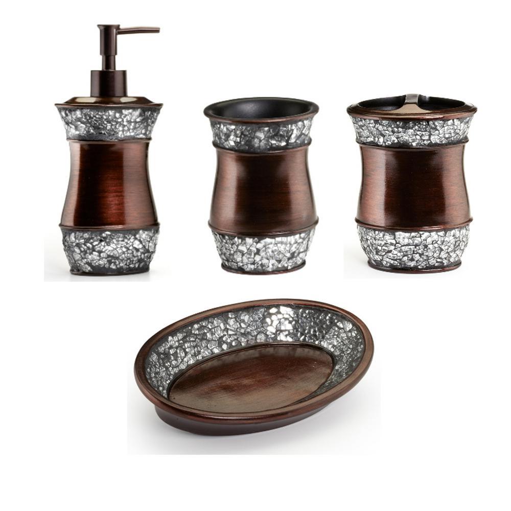 Elite 4-Piece Bath Accessory Set in Copper and Silver