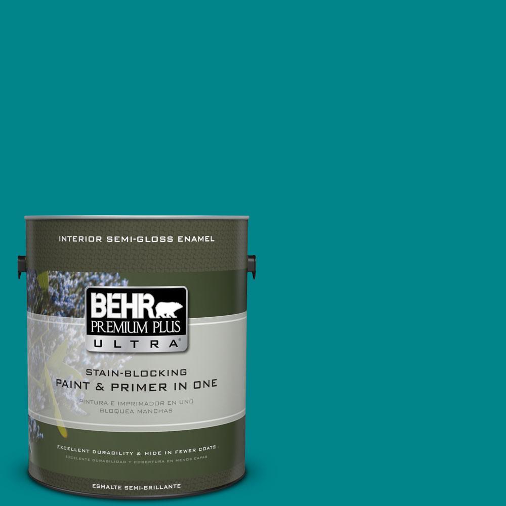 1-gal. #500B-7 Tucson Teal Semi-Gloss Enamel Interior Paint