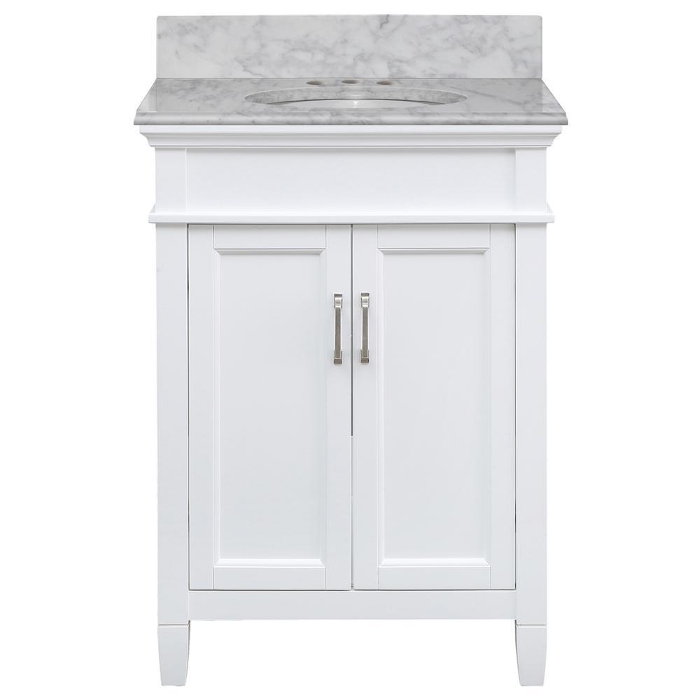 Home Decorators Collection Ashburn 25 in. W x 22 in. D Bath Vanity in White with Marble Vanity Top in Carrara with White Oval Sink was $799.0 now $479.4 (40.0% off)