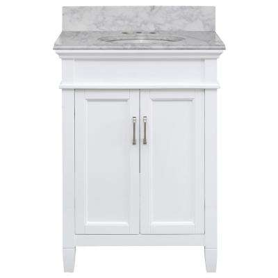 Ashburn 25 in. W x 22 in. D Bath Vanity in White with Marble Vanity Top in Carrara with White Oval Sink