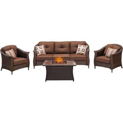 Gramercy 4-Piece Woven Patio Seating Set with Wood Grain-Top Fire Pit and Premium Sunbrella Brown Cushions