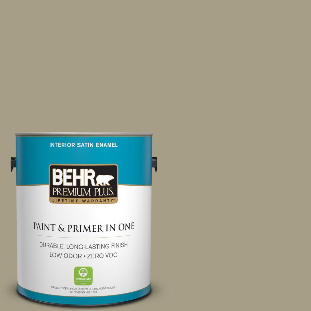 BEHR Premium Plus 1-gal. #N340-4 Tent Green Satin Enamel Interior Paint