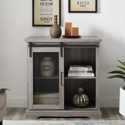 32 in. Grey Wash Farmhouse Mesh Door Accent Cabinet