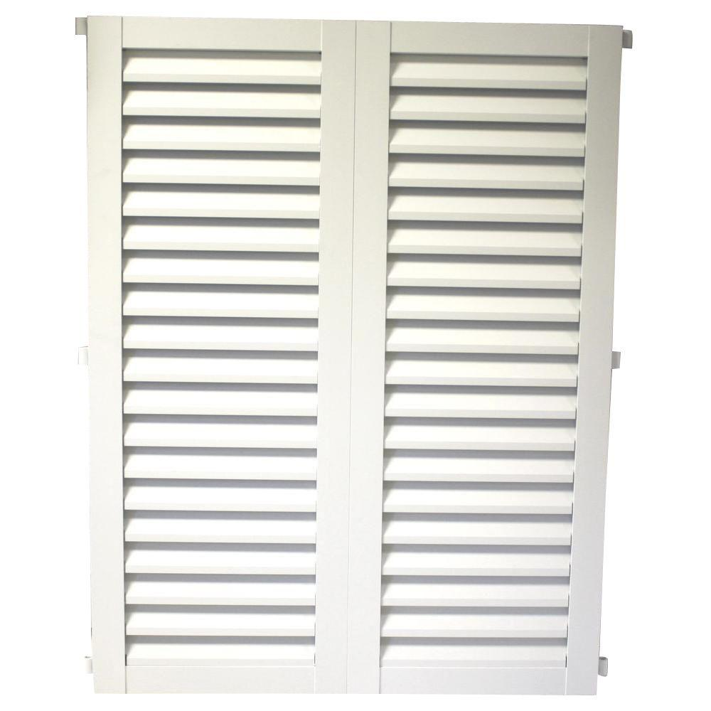POMA 36 in. x 23.75 in. White Colonial Louvered Hurricane Shutters Pair
