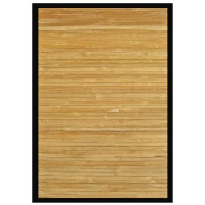 Contemporary Natural Light Brown with Black Border 2 ft. x 3 ft. Area Rug