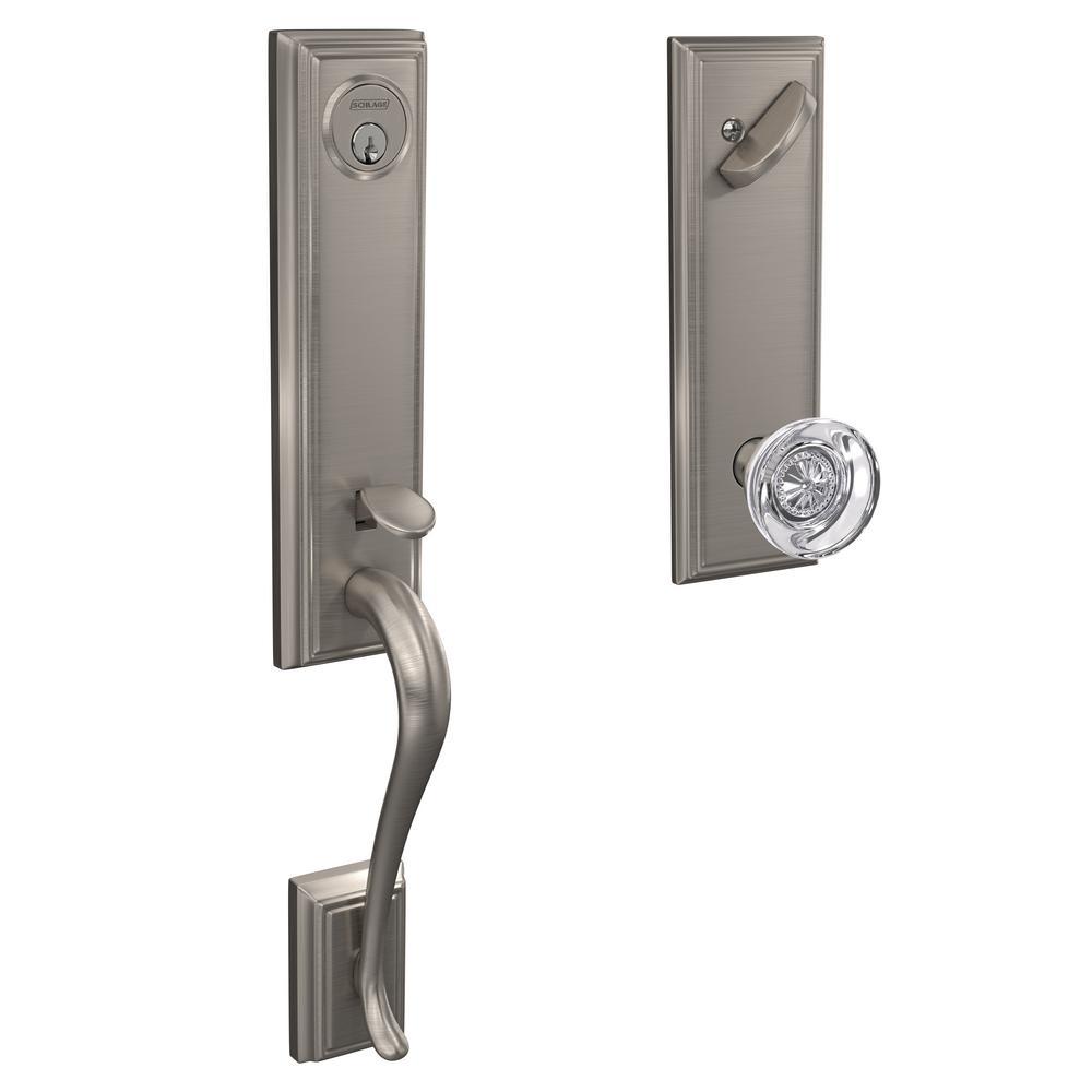 Addison Satin Nickel Single Cylinder Deadbolt with Hobson Glass Knob Door Handleset