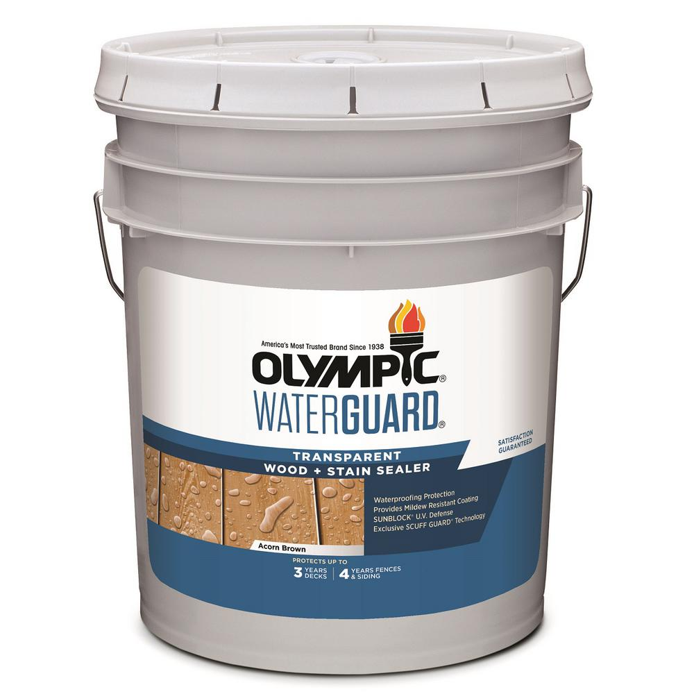 Olympic WaterGuard 5 gal. Acorn Brown Transparent Wood Stain and Sealer