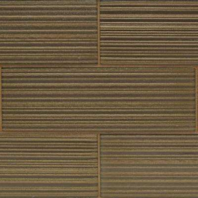 Midtown Sense Fawn Stripes 4 in. x 12 in. Glass Wall Tile (1 sq. ft.)