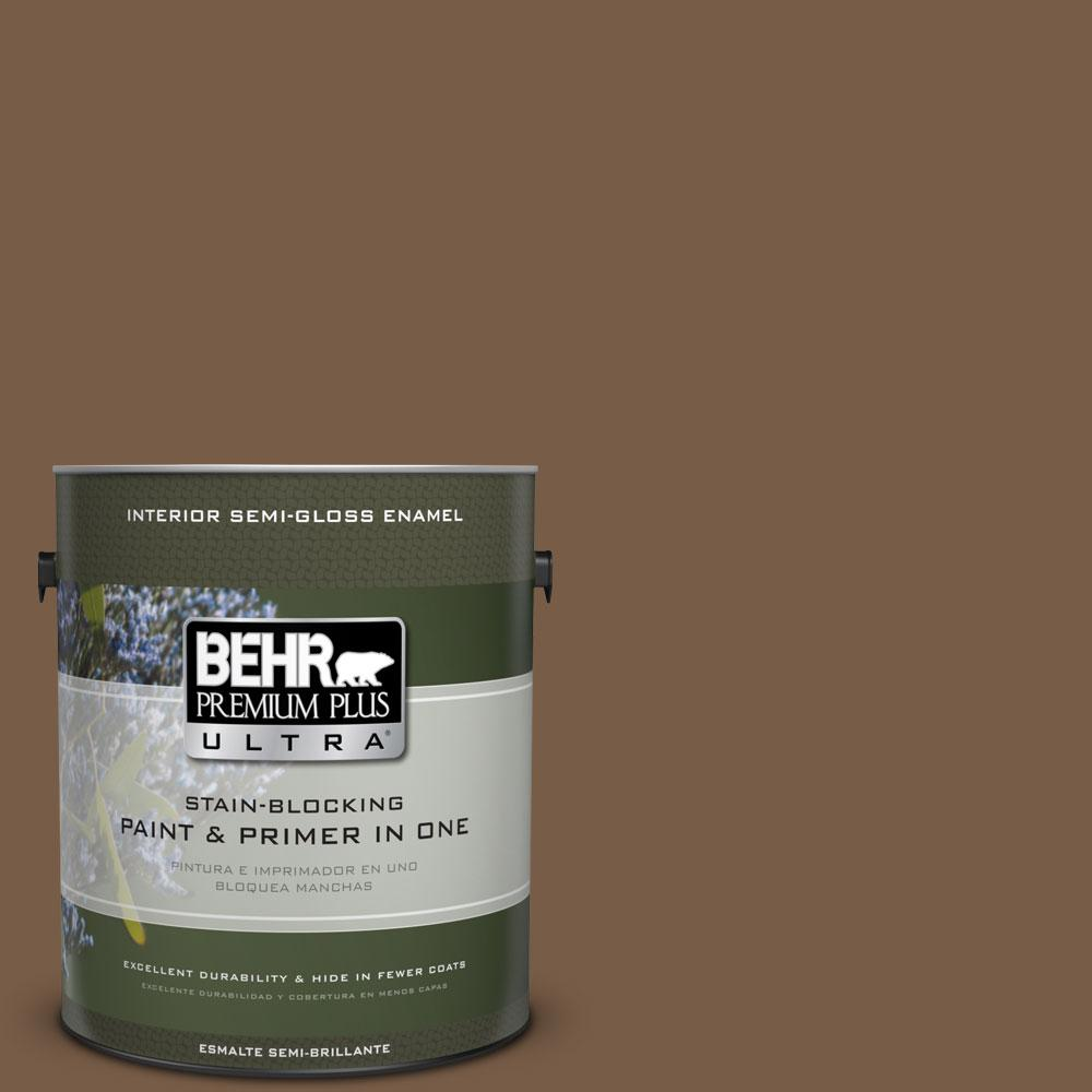 BEHR Premium Plus Ultra 1-gal. #N250-7 Mission Brown Semi-Gloss Enamel Interior Paint