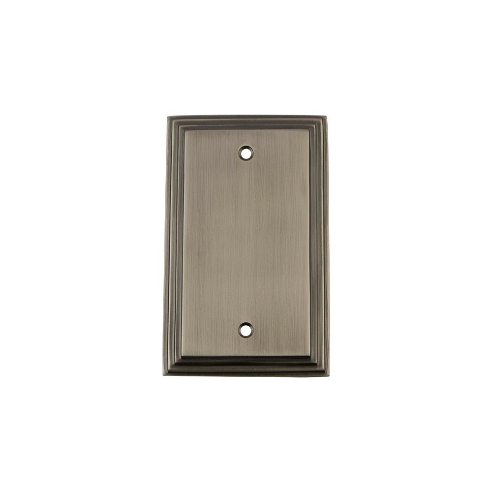Deco Switch Plate with Blank Cover in Antique Pewter