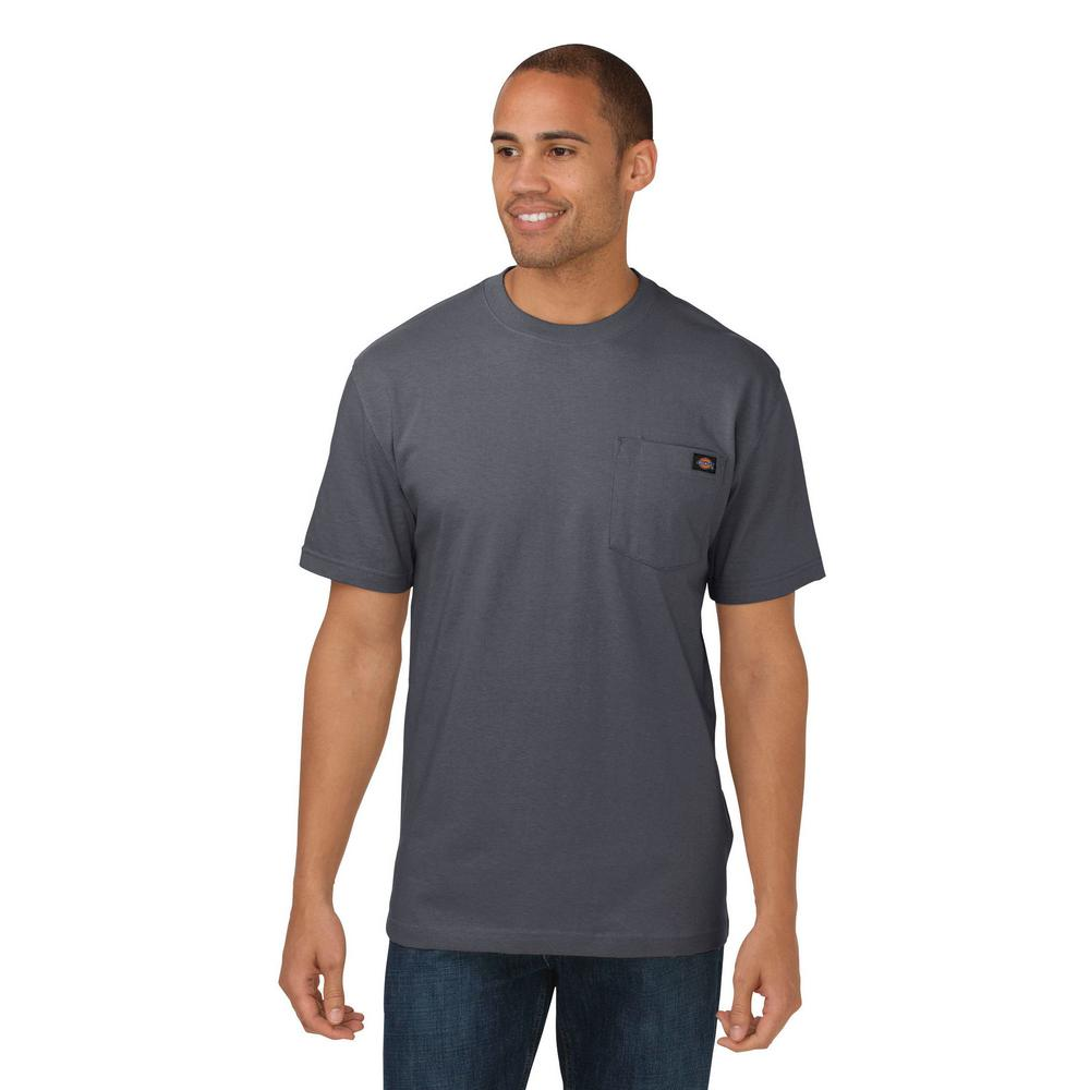 e97c1adc Dickies Men's Medium Charcoal Heavy Weight Crew Neck T-Shirt-WS450CH ...