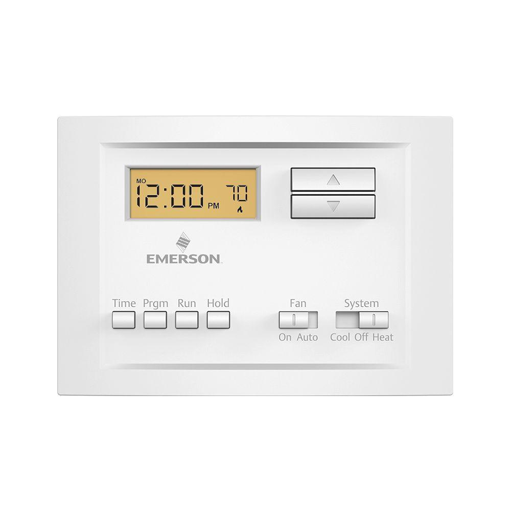 whites emerson programmable thermostats p150 64_1000 emerson single stage 5 2 day programmable thermostat p150 the Thermostat Wiring Color Code at virtualis.co