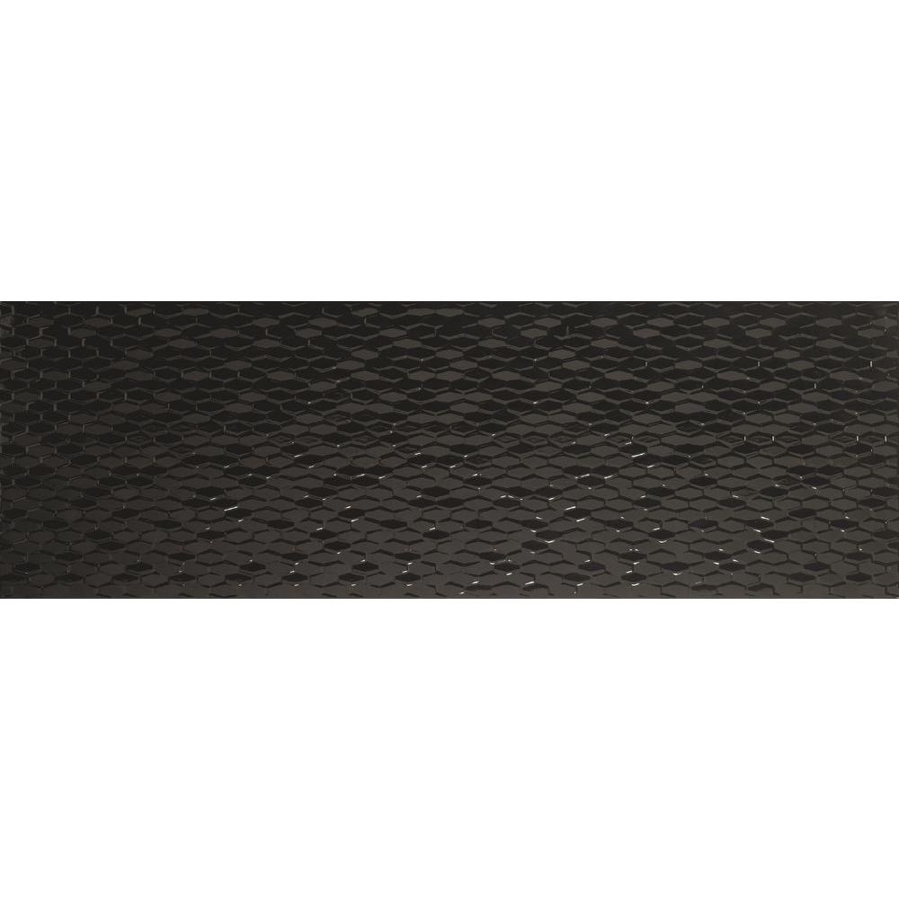 Emser Artwork Hexagon Black 12 in. x 35 in. Ceramic Wall Tile (11.63 sq. ft. / case)