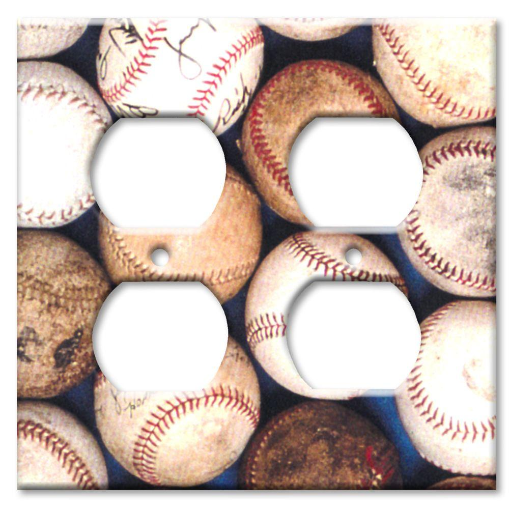 Art Plates Baseballs - Double Outlet Cover
