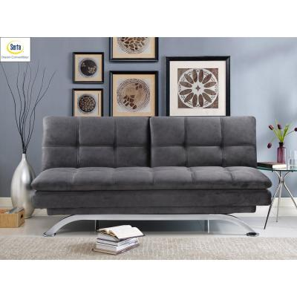 Largo 40.6 in. Dark Grey Linen 3-Seater Armless Reclining Sofa