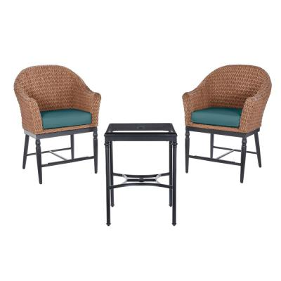 Light Brown 3-Piece Wicker Outdoor Patio Balcony Height Bistro Set with CushionGuard Charleston Blue-Green Cushions