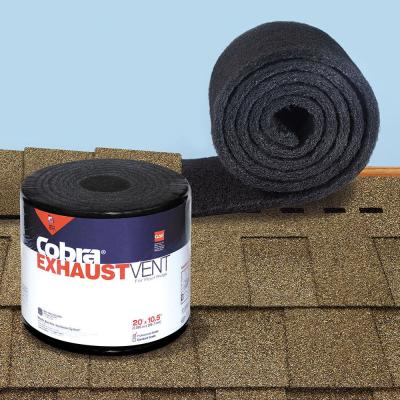 Cobra Exhaust Vent 10.5 in. x 20 ft. Mesh Roll Ridge Vent in Black - (Nail Gun Version)